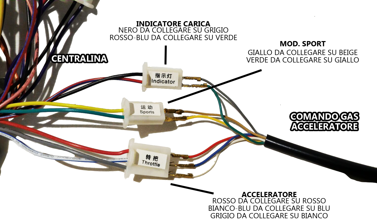 Capobranco Shop Product Mn02020 Trhottle 36volt Electir 36v Battery Indicator Wiring Diagram Connection Between Control Units And Accelerator 48v 1600w Brushless 60v 2000w